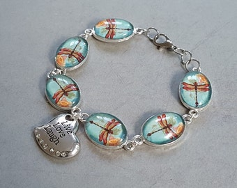 "Dragonfly Fans Bracelet! 7.5"" Long, Peach Dragonfly on Aqua Background Silver Charms ""Live Love Laugh"" Stamped Silver Heart with Rhinestones"
