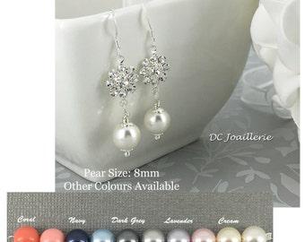 Swarovski Pearl Earring, Pearl and Flower Earrings, Bridesmaids Gifts, Bridesmaid Earrings, Sterling Silver, Junior Bridesmaid Earrings