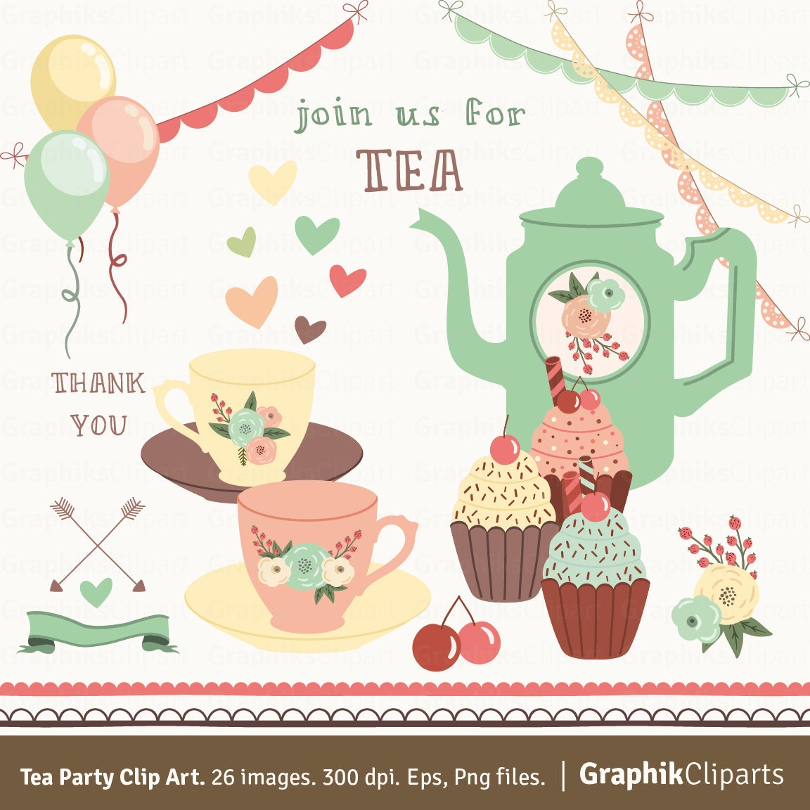 This is an image of Insane Tea Party Clip Art