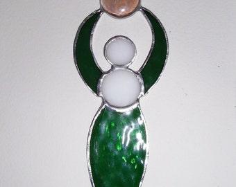Goddess Stained glass Suncatcher - handmade, beautiful green stained glass Suncatcher, with green, Chez fired polished beads