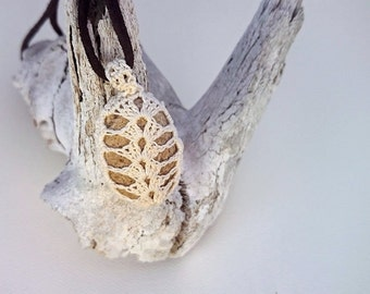 """River Stone Pendant - """"Trilobite"""" - White crochet & cream natural stone pendant with dark coffee adjustable cord"""