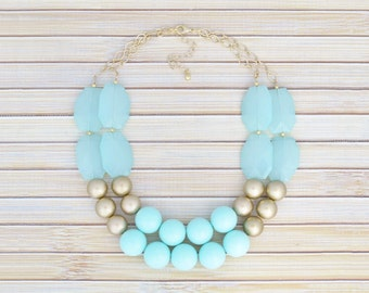 Mint Blue/Green Statement Necklace, Mint & Gold Bib Beaded Necklace, Layered Jewel Chunky Mint Wedding Bridesmaid Necklace, Casual or Formal