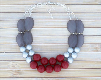 Red Bib Necklace, Beaded Choker Statement Necklace, Retro Style Classic Necklace, Chunky Red Jewelry, Red Fashion Huge Round Bead Necklace
