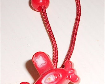 RED AIRPLANE 80s vintage kawaii ponytail small mint
