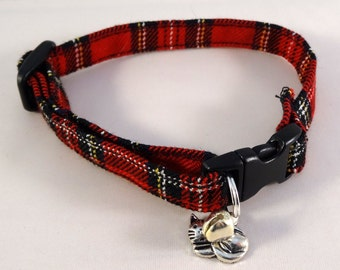 Cat Collar optional bow // Red tartan