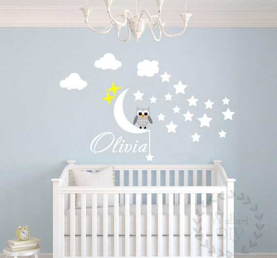 Kinderzimmer baby wände eule  Kinderzimmer Wand Aufkleber Eule Wand Aufkleber Name