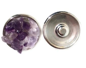 Snap charm Amethyst gemstone snap jewelry jewelry interchangeable charm bracelet