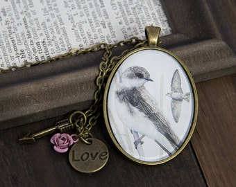 Swallow Necklace, Swallow Bird Jewelry, Bird Necklace Mom, Jewelry for Mom, Bird Lover Gift, Postage, Stamp Necklace, Fun Girlfriend Gift