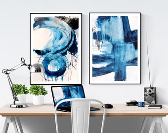 blue white  wall art , art print , wall art prints,poster  abstract painting ,   jolina anthony