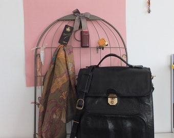 Grande sacoche en cuir noir TEXIER - Large leather bag / leather satchel / tablet-folder-old french - hippie chic - boho