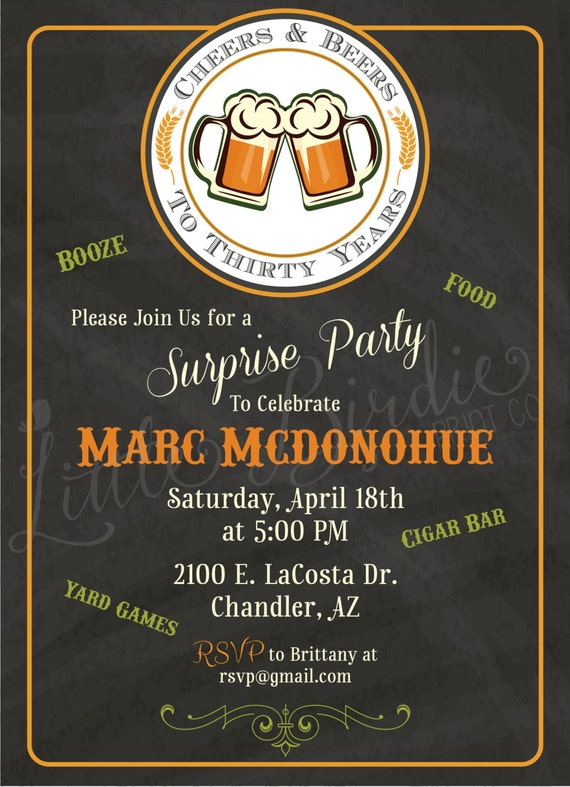 Cheers Amp Beers Birthday Invitation