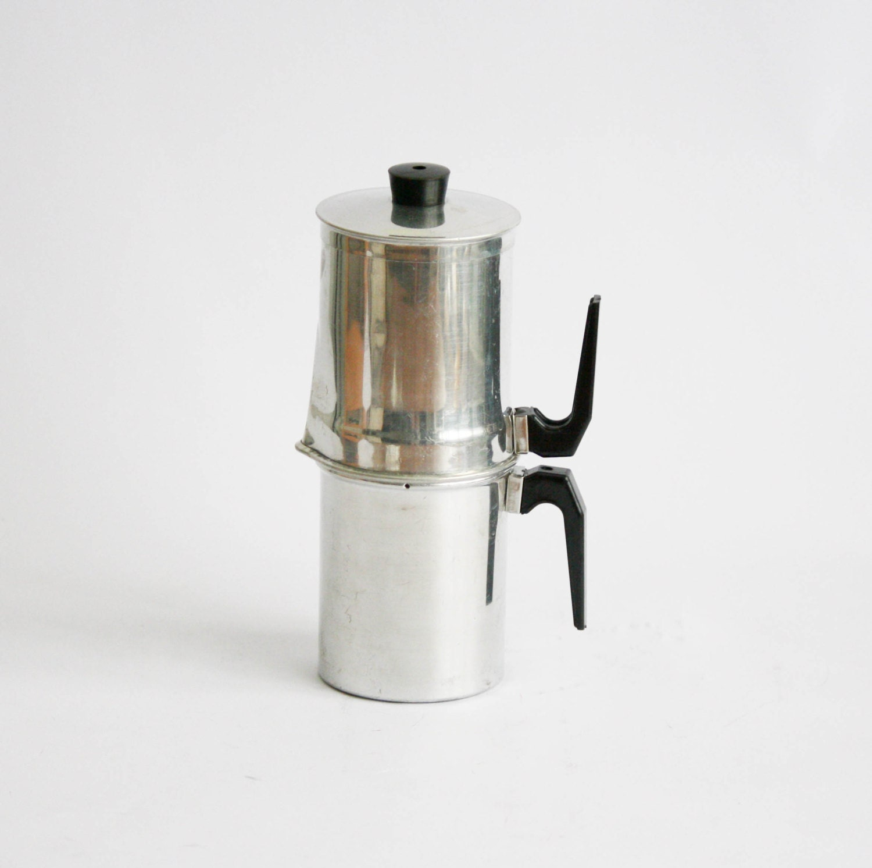 Neapolitan Flip Coffee Pot ~ Vintage aluminium neapolitan coffee maker pot made