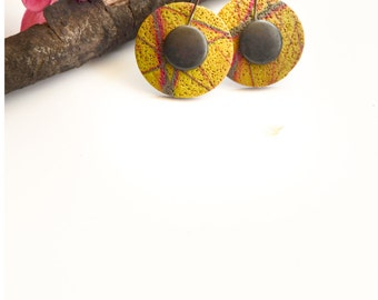 Handmade Polymer Clay Earrings, Round Earrings, Polymer Clay, Colorful Earrings, Surfaced Summer Earrings