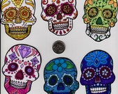 Handmade Set Of 6 Sugar Skull Stickers