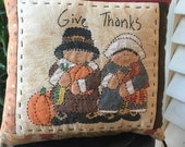 Primitive GIVE THANKS Pillow - Handmade