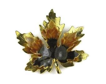 Brown Enamel Maple Leaf Brooch