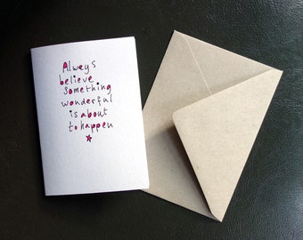 Black/white card, A6, folded, blank inside, with envelope, happy quote