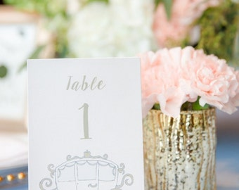 Printable Fairytale Table Numbers 1-20 / Horse and Carriage / Cinderella Theme Wedding / Gold / Powder Blue / Princess / Queen