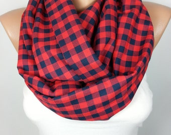 Plaid Scarf Infinity Scarf Red Cotton Scarf Loop Christmas Gift For Her For Him Men Scarf Fall Winter Women Fashion Accessory Gift for Women
