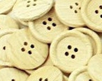 "6 Wood Buttons, 1"" Wooden Buttons 23mm Bulk Buttons Sewing Knitting Buttons Scrapbooking Sewing Notions, Large Wood Button Big Buttons"