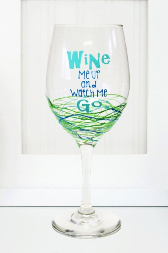 Items similar to hand painted wine glass funny wine glass Wine glasses to go