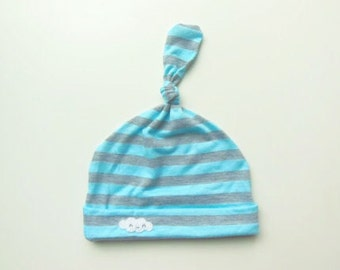 Baby Knot Hat - Cotton Baby Hat - Baby Beanie - Jersey Knit Baby Hat - 6-12 Month - Blue And Grey