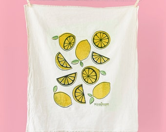 Kitchen towel, dish towel, tea towel, hostess gift, lemons