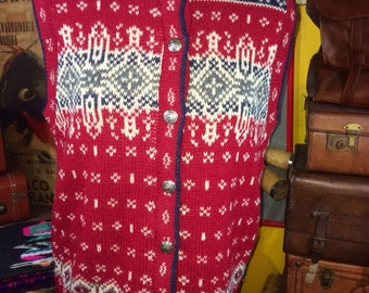 Authentic Vintage L.L. Bean 100% Pure Wool Fair Isle Winter Sweater Vest Women's Medium--Made in the USA.