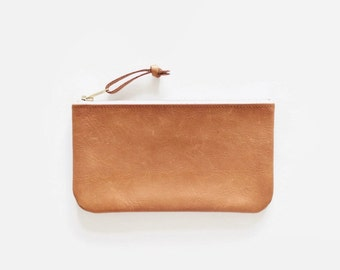 camel brown distressed leather purse, leather wallet, leather bag, leather clutch, cosmetic bag, zipper bag
