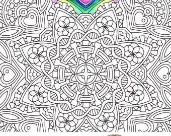 mandala coloring page empathic joy mudita printable coloring page adult coloring - Art Therapy Coloring Pages Mandala