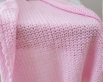Handmade Baby Afghan, Pink