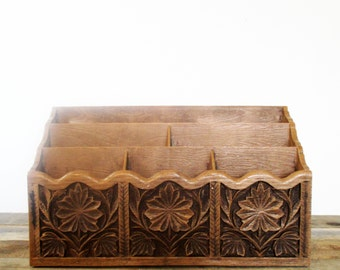 On SALE!!! Vintage Faux Wood Mail Organizer or Desk Caddy - Perfect for a Feminine Dorm or Office.