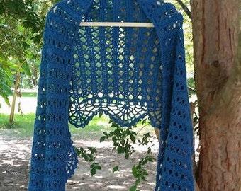 Ocean Blue Crochet Shawl/Prayer Shawl