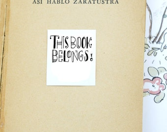 Bookplate This Book Belongs To Ex Libris Calligraphic Printable digital instant download book label Calligraphy kids