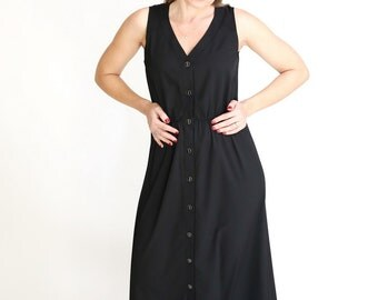 Black maxi long dress casual summer Dress button Day Dress sleeveless