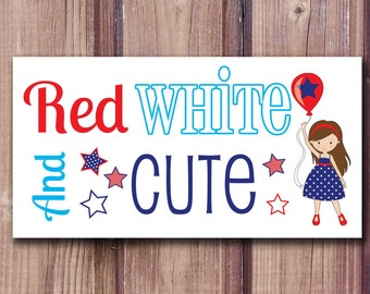 Printable Fourth of July Iron On, DIY 4th of July Kids Shirt, Memorial Day Shirt, Girls Shirt, Red White and Cute, Digital Download