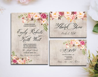 Printable Wedding Invitation suite Boho Floral rustic wood watercolor Set/Suite RSVP Thank You Cards Printable digital files