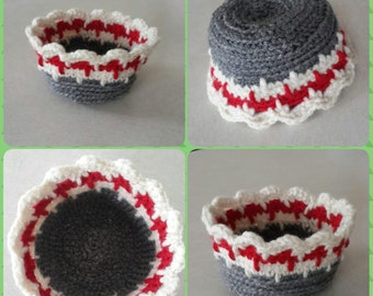 Crochet Jewelry Holder Box Dish 3 Colors Red White Charcoal Gray