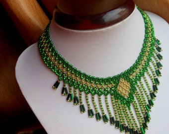 Fringe necklace Green necklace Bib necklace Vintage necklace Collar necklace Beaded jewelry Modern necklace Handmade necklace Boho jewelry