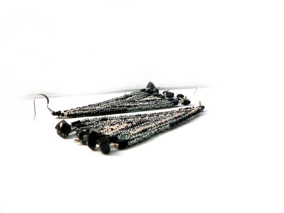 Long Beaded Tassel Earrings Black Gray Silver Gold Brick