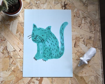 Miauw Miauw Minty Kitty Cat A5 Poster- Print of my illustration