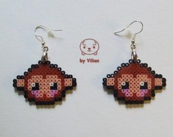 Mini Hama bead monkey or ape pixel 8-bit geek earrings