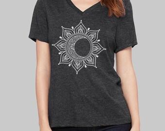 Mandala, V Neck T Shirt, Moon Shirt, v neck shirt, women, v neck tshirt, womens, graphic tees, v neck, screen print shirt