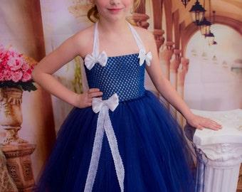 Blue Flower Girl Dress, White Bows, Flower Girl Dress, Flower Girl Tutu, Birthday Dress, Birthday Tutu, Blue Dress with Bows, White Bows