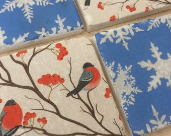 Set of 2 Marble Coasters ~Snowdrops/Red Robins-Christmas-Decorative Tiles /Blue/Foilage