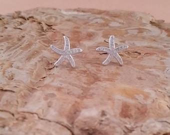 Starfish CZ Earrings -- Sterling Silver