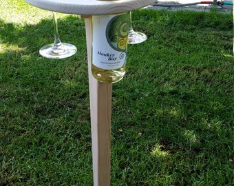 Folding Wine Bottle/Glasses Table