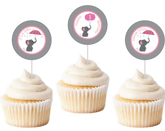 Elephant Cupcake Toppers, Elephant Gift Tags, CUSTOM Pink and Grey Elephant 2' Favor Tags, Thank You Tags, Elephant Birthday, Party, Shower