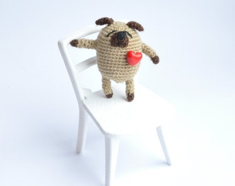 Pug with heart Amigurumi pug Miniature pug Crochet toy Crochet dog Crochet puppy Amigurumi Pug dog Crochet pug Cute dog Little pug
