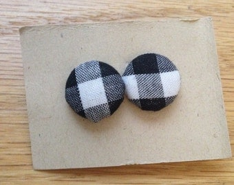 Black and White Check Fabric Button Earrings